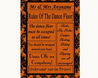 Burnt Orange Damask Rules Of The Dancefloor Personalised Wedding Sign
