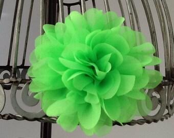 Hair clip: neon green hair clip, neon hair accessory, flower hair clip, girls hair clip in neon green.