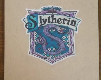 Original Drawing - Slytherin House Crest