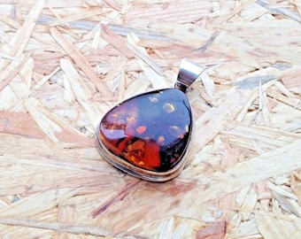 Truly Vintage Sterling Silver & Amber Pendant
