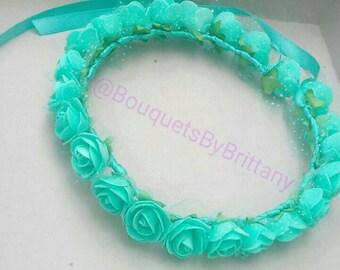 Flower girl crown, teal flower crown adult, headpiece wedding crown, festival crown, festival headpiece, rose flower circlet, rose crown