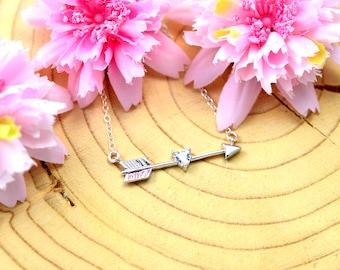 Long arrow necklace, Arrow necklace gold, Arrow necklace, Gold arrow necklace, Archery necklace, Weapon necklace, Dainty necklace