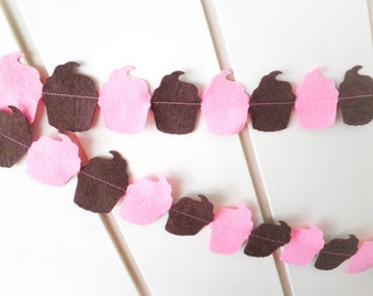 Cupcake Garland Bunting - made with pink and chocolate brown wool blend felt cupcakes, perfect for kids room or birthday celebrations.