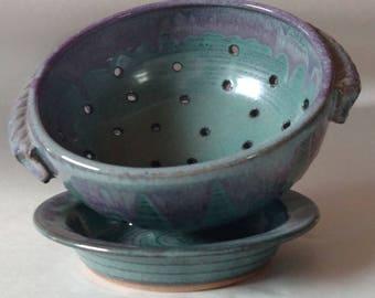 Ready To Ship   Ceramic berry bowl set, Ceramic colander, Pottery fruit bowl, Handmade colander,Housewarming gift