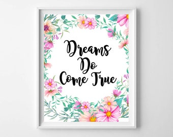 Delightful Dreams Do Come True, Inspirational Wall Art, Inspirational Printable, Dreams  Printable, Dreams