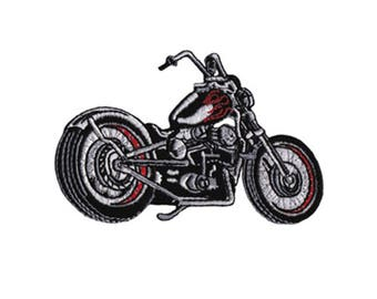 Black Chopper Motorcycle Iron On Applique, Motorcycle Patch, Black Chopper Patch, Boys Patch, Fun Patch, Kids Patch, Embroidered Patch