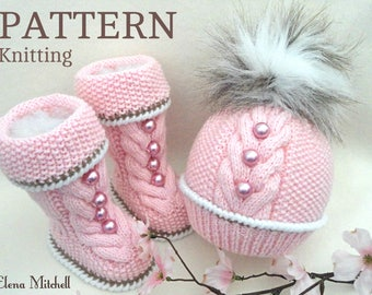 Knitting PATTERN for Babies Knitted Baby Set Baby Shoes Knitted Baby Hat Kids Pattern Baby Booties Baby Boy Baby Girl Pattern ( PDF file )