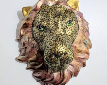 Lion Hand Painted ceramic Lion Head wall hanging