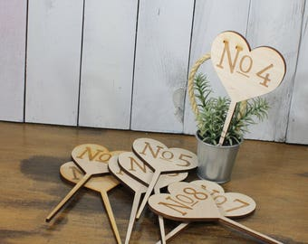 Table Numbers/Stakes/Wood/Wedding Sign/Event/Rustic/Summer/Fall Wedding/Rustic/Heart