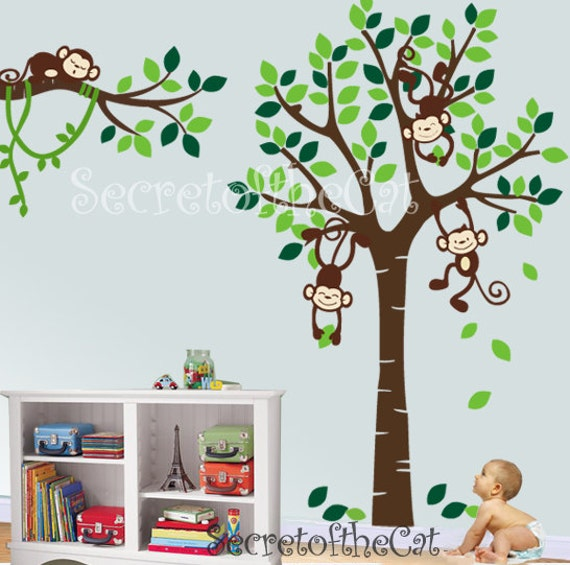 Captivating Nursery Wall Decal Wall Decal Nursery Tree With Monkeys