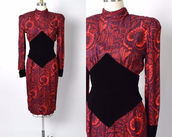 Vintage 1980s Dress 80s Victor Costa Day Paisley Corset Waist