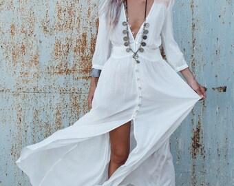 Bohemian Clothing, White Long Dress ,Button Dress, White Maxi Dress With Sleeves, Boho Dress, Fashion Dress