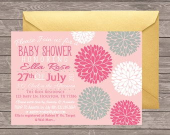 Girl Baby Shower Invitation | Flower baby Shower Invitation | Girl Shower | Pink baby shower Invitation | Digital invitation