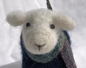 Needle Felted Animal , Scottish sheep with jumper, Needle Felted sheep , miniature animal , Home decor ,  Waldorf , Christmas , gift