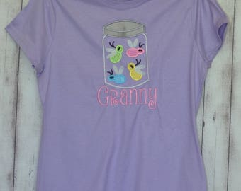 Personalized Lightning Bug Firefly Applique Shirt or Bodysuit Boy or Girl