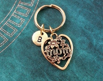 Mom Keychain, Personalized Key Ring, Mom Heart Keychain, Mother's Day Gift, Gift for Mom, Mom Charm Keychain, Mom Keyring, Gold Keychain