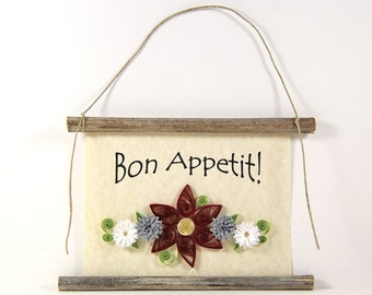 Bon Appetit, Paper Quilled French Kitchen Sign, 3D Paper Quilled Banner, Red Grey White Decor, France Gift, Enjoy Your Meal Kitchen Art