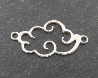 Sterling Silver Cloud Connector 25mm
