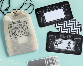 24 Scratch-off Lunchbox Notes  // Mini Cotton Drawstring Bag // Back to school, lunch box note, first day of school gift, kids lunch notes