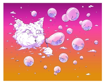 Print: Bubble Cat - Sunset, Funny Cat, Cloud Cat, Cat Art Print, Cat Lover Gift, Cat Art, Cat Artwork, Cat Gifts