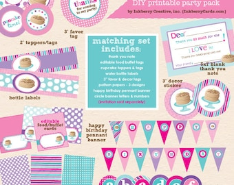 Pancakes & Pajamas (Pink/Purple/Aqua Colors) Birthday Party - DIY/Printable Complete Party Pack - INSTANT DOWNLOAD!