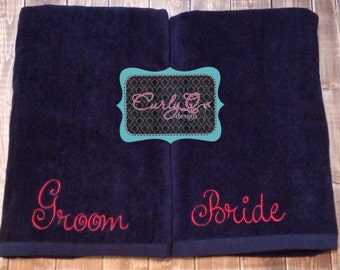 Bride and Groom beach towels perfect honeymoon/bridal shower gift