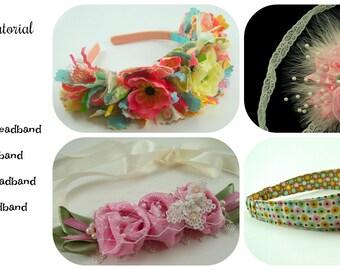 Huge Sale ... Fabric Headband Tutorial Bundle ... includes 4 headbands plus 2 flower tutorials