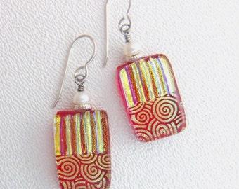 Red Swirl Dichroic Earrings, Handmade Fused Glass Jewelry