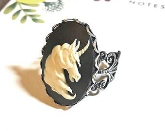 Unicorn Cameo Ring. Adjustable Filigree Ring. Ivory and Black. Mythical. Horse.