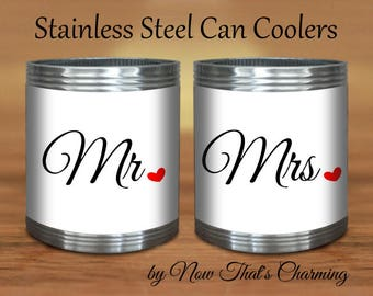 SALE! Stainless Steel Can Coolers - Mr & Mrs- Cyber Monday