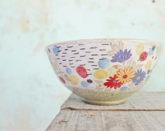 READY TO SHIP Ceramic Pottery Bowl Dish Stoneware Floral Rustic Texture Australia