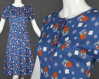 XS Simple Vintage Dress TShirt Dress Short Sleeve Summer Day Dress Blue Geometric Print Boho Shift Dress 1970s