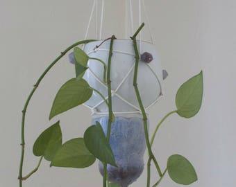 Moroccan Hanging Planter // Ceramic Hanging Planter // White and Purple Planter // Handmade Ceramic Planter // Large Hanging Planter