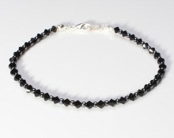 Swarovski Crystal Jet Black and Hematite Seedbead Bracelet