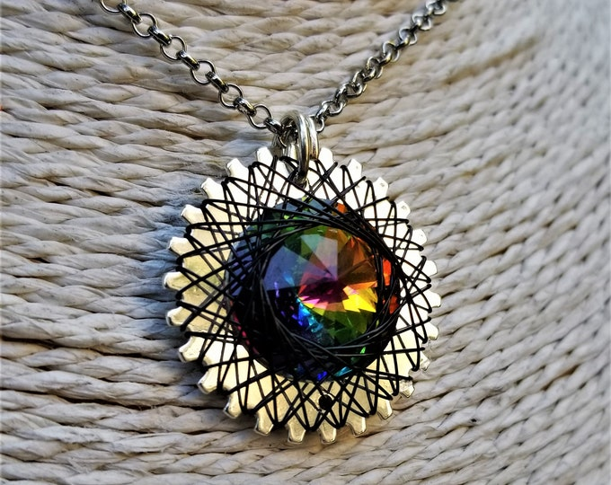 Spirograph Inspired Light Rainbow Swarovski Crystal Pendant in Silver Setting with Black Wire