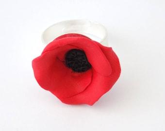 Red Black Poppy Adjustable Silver Ring