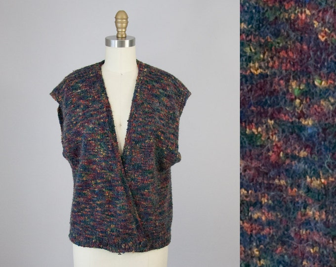 1980s Vintage Boucle Speckled Soft Slouchy Sweater Top (M)