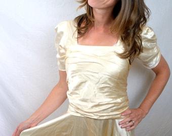Vintage 30s Deco 1940s Amazing RARE Silk Wedding Dress Gown