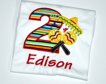 Birthday Boy Outfit - Personalized 2nd Birthday Fiesta Party Appliqued T-shirt, Sizes 2T, 3T, & 4T