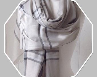 Grey / Black / Silver Lurex Sheen Stripe / Scarf /Sarong - Extra Long - Extra Wide