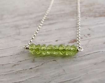 Birthstone Necklace, Peridot Bar Necklace, Layering Necklace, August birthday, Sterling Silver