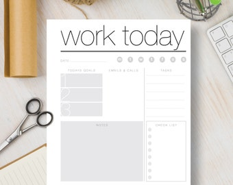 WORK TODAY Instant Download Printable Planner. Black and White Instant Planner insert includes 4 sizes: A4, A5, Letter & Half Letter   #535
