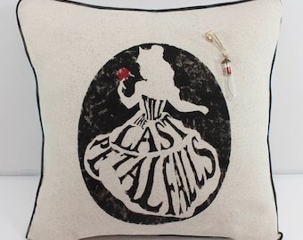 """Stenciled Muslin Decorator """"Charm"""" Pillow - 18"""" -  Belle - FREE SHIPPING to the U.S.!!"""