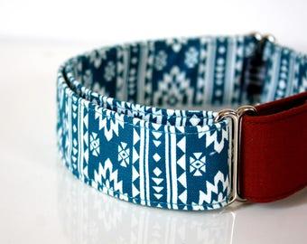 Southwestern BOHO Martingale Dog Collar -  brick‐red solid - Silver