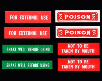 8 Tiny, Retro Apothecary Labels, including Poison
