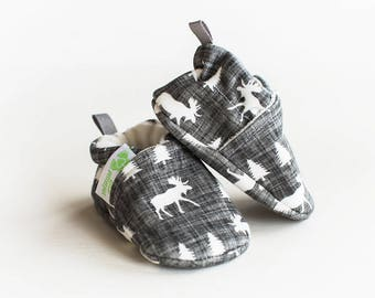 Organic Knits Vegan Moose in Sketch / All Fabric Soft Sole Baby Shoes / Made to Order / Babies