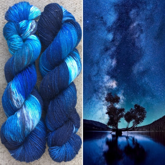 Night Sky Sparkle Sock, merino nylon yarn with silver stellina