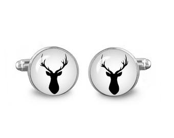 Deer Head Silhouette Cuff Links Stag Cufflinks 16mm Hunters Cufflinks Gift for Men Groomsmen Fandom Jewelry
