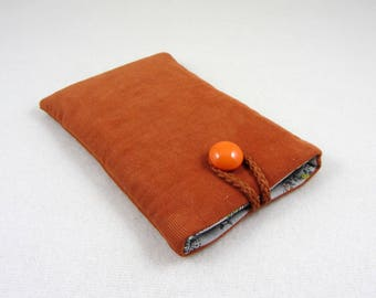 Corduroy cellphone sleeve, orange phone cover, i phone case, fabric phone pouch, soft phone sleeve, padded cellphone case