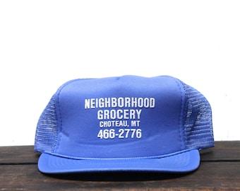 Vintage Trucker Hat Snapback Hat Baseball Cap Neighborhood Grocery Chocteau Montana General Store